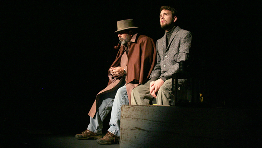 Dwight Myers and Jacob J. Roman rehearse a scene in The Woman in Black