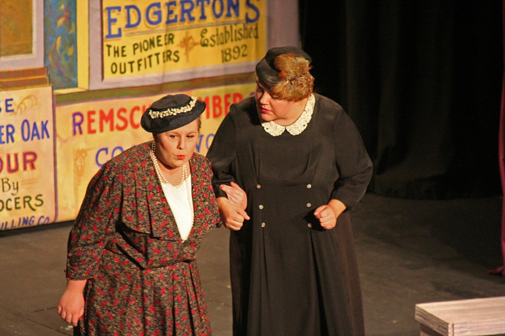 Prudence (Rachel Ridinger) and Ethel (Elysia Pederson) discussing the fate of the opera house.