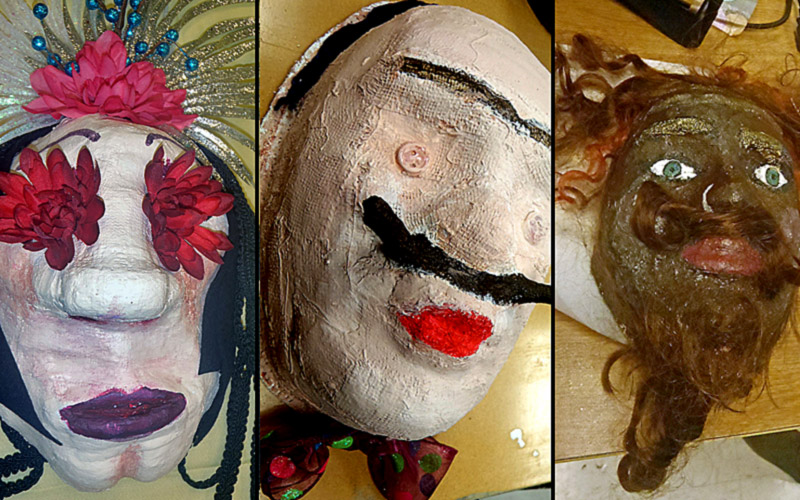 Three of the finished masks.