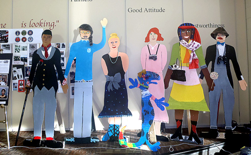 """Graphic Novel """"flat people"""" characters completed by Creekside Elementary 5th graders."""