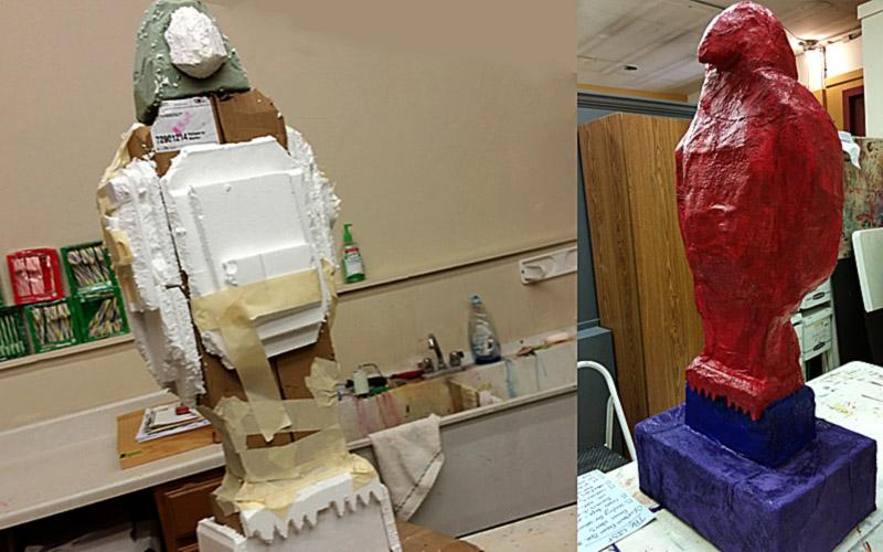 The making of a 4' paper mache falcon.