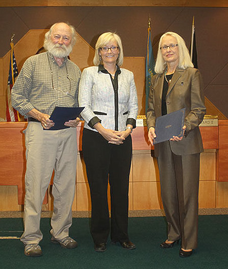 Spearfish Mayor Dana Boke, center, proclaimed Sept. 2 as Dick Termes Day and Kay Jorgensen Day. The two Spearfish residents will be inducted into the S.D. Hall of Fame at the 2014 Annual Honors Ceremony, Sept. 12-13, in Chamberlain. Pioneer photo by Kaija Swisher