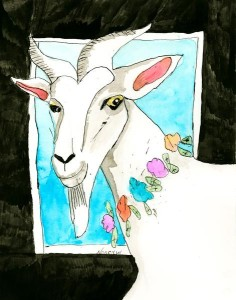 """Goat with Flowers"" by Nancy Weiss, Suzie Cappa artist"